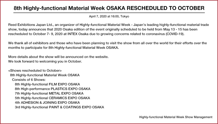 8th Highly-functional Material Week OSAKA RESCHEDULED TO OCTOBER